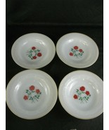 Termocrisa Milk Glass Salad Bowl Rose Set of 4 Vintage - $43.56