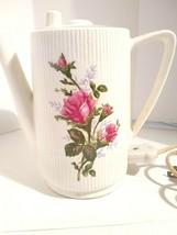 "VINTAGE Ceramic Hot Pot Rose's Motif Ribbed White Electric Works Great 6"" - $9.90"