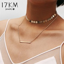 17KM® Bohemian Double Layer Sequins Choker Necklace For Women Statement ... - $4.19