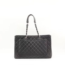 100% AUTH CHANEL BLACK QUILTED CAVIAR XL GST GRAND SHOPPING TOTE BAG  image 2