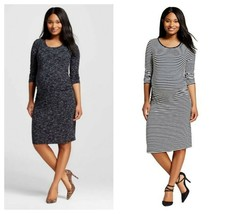 Liz Lange Maternity Ebony Space & Navy/Cream Ruched 3/4 Sleeve Dress S,M... - $9.00