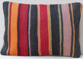14'' X 20'' Hand Made Multicolor Kilim Pillow Cover,Kelim Cushion Made i... - £25.69 GBP