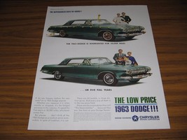 1963 Print Ad Dodge Cars The Dependables 5 Years or 50,000 Miles Warranty - $13.96
