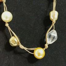 NWT Hand Knotted Cord Necklace Boho Hippie Career Casual Bead Faux Pearl Adj - $10.89