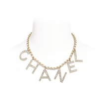NEW AUTH Chanel 2019 RUNWAY C H A N E L Crystal Logo Long Gold Chain Necklace
