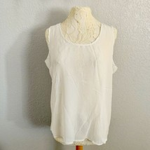 DILA Blouse Womens 1X Plus Size White Sheer Open Back Lace Up Tank NWT - $18.70