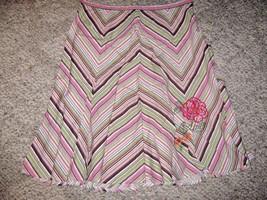 ENVISION AVENUE Pink Green White Black Chevron Left Zip Flare Skirt  12 - $10.69