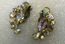 Vintage Signed Weiss Silver Tone & Aurora Borealis Rhinestone Clip on  Earrings - $14.65