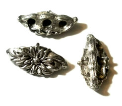 FLOWER AND LEAVES WIDE TOP 3 HOLE FINE PEWTER SPACER BAR image 1