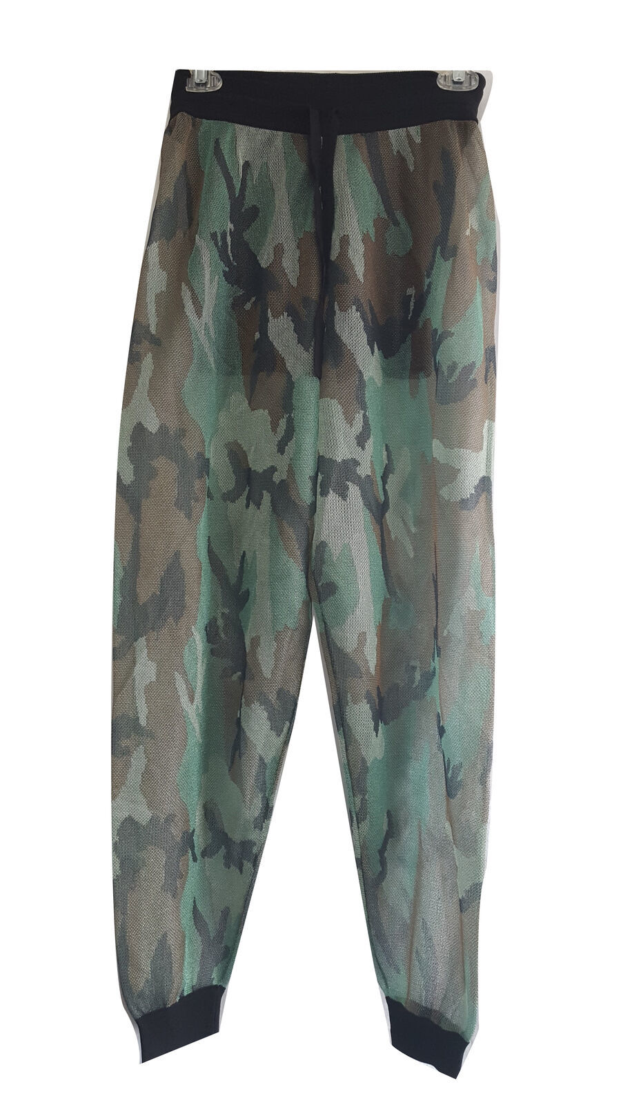 Kendall and Kylie Camo Mesh Drawstring Pant, Mint Camo Multi, Small