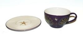 Starbucks 2006 Christmas Purple Gold Star Holiday Mug Cup & Saucer Never Used - $24.63