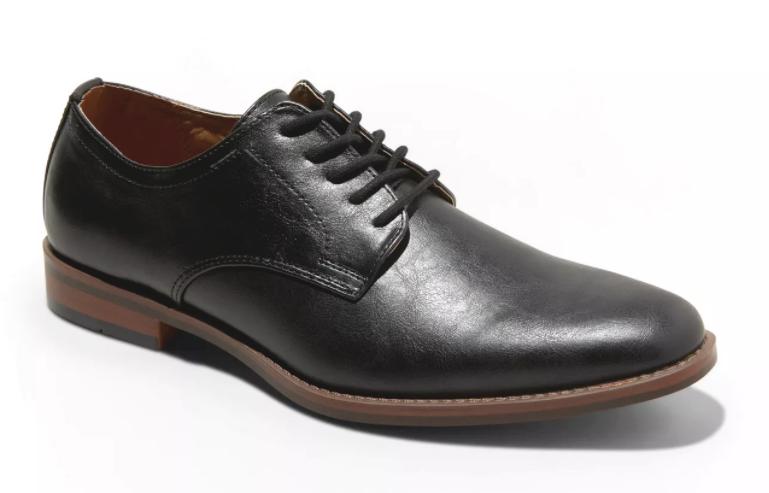 Goodfellow & Co Men's Black Faux Leather Benton Oxford Dress Shoes NEW