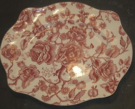 Vintage Red English Chippendale Johnson Bros England Serving Plate Platter - $18.81