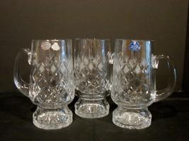 3 Russian Cut Crystal Rhombus Pattern Beer Mugs Gusevskoy Gusev Gusevska... - £32.72 GBP
