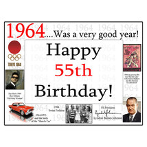 "Happy 55th Birthday (Age 55) FACTS FROM ""1964"" PERSONALIZED DOOR POSTER ... - $19.99"