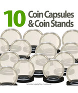 10 Coin Capsules & 10 Coin Stands for QUARTERS Direct Fit Airtight 24mm ... - $9.85
