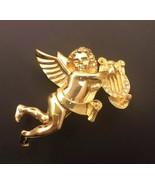 Vintage Signed Givenchy Angel Pin Brooch Cherub Rhinestone Harp Goldtone... - $51.20