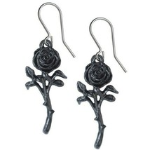 The Romance of the Black Rose Earrings Dangling Hooks Alchemy Gothic E42... - $16.95