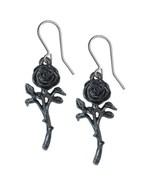 The Romance of the Black Rose Earrings Dangling Hooks Alchemy Gothic E42... - $16.95