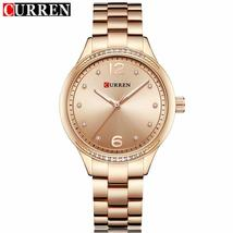 Curren Women's Fashion Casual Women Watches Top Brand Luxury Gold Full Steel Qua - $37.56