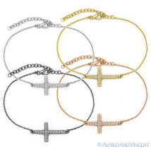 Sideways Cross Christian Charm Micro Pave Bracelet / Anklet .925 Sterlin... - $49.39