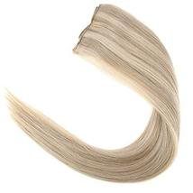 YoungSee 14inch Remy Human Hair Halo Extensions with Clips Dark Ash Brown with G image 3