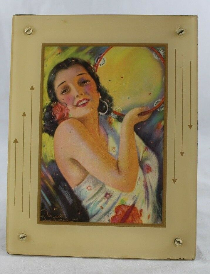 Primary image for Vintage R. Wilson Hammell Art Deco Framed Beautiful Spanish Woman Pin-up Babe