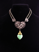 Antique sweetheart necklace / Sterling Moonstone Heart /  malachite drop / ornat - $245.00