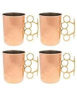Copper Moscow Mule Mugs Brass Knuckles 20oz Nickel Plated Set of 4 Drink... - $162.35