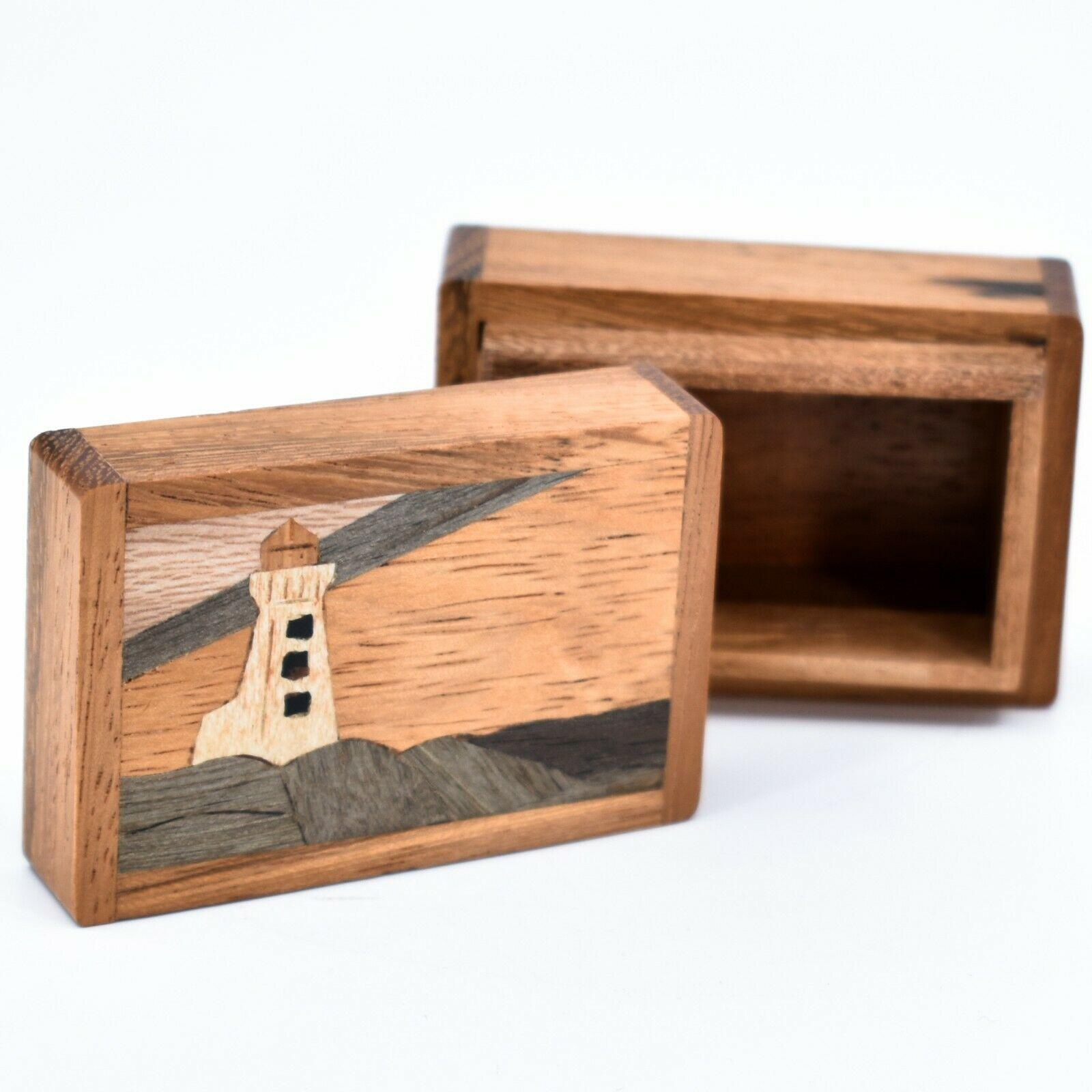 Northwoods Wooden Parquetry Nautical Ocean Marine Lighthouse Mini Trinket Box