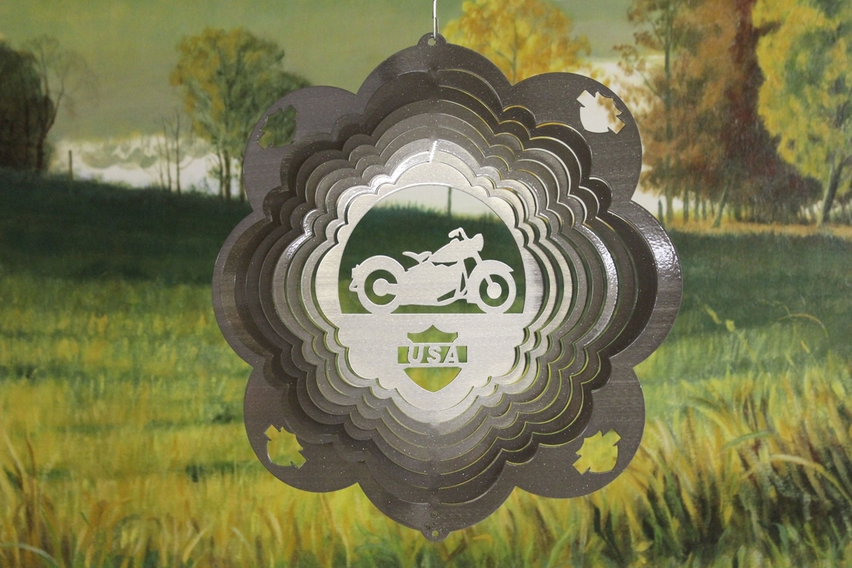 12 in stainless steel silver Motorcycle USA 3D hanging yard deck wind spinner - $32.00