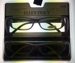 Ellen Tracy ET3044 Womens Readers 2 Pack Rectangle Black & Merlot  Plast... - $22.49