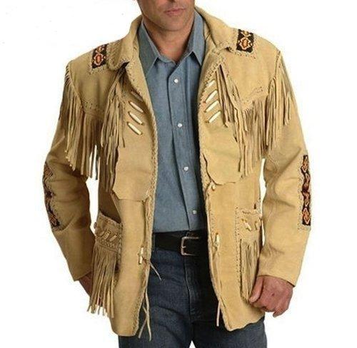 Men's New Western Beige Suede Leather Jacket Fringe / Bones / Beads Coat Fringes