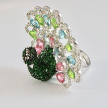 925 Silver Ring Rhodium and Burnished with Zircon Cubic Shaped Peacock image 8