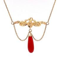 14k Yellow Gold Nouveau Iris Genuine Natural Coral Festoon Necklace (#J4... - $643.50