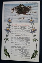 Mount Holy Cross Poem Out Where the West Begins Colorado.CO  c.1940's - $4.00