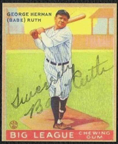 1933 goudey babe ruth #144 reprint with autographed front new york yankees - bas