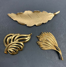 Vintage Leaf Brooch Lot Pegasus Coro Napier Signed Gold Tone Open Work - $15.80