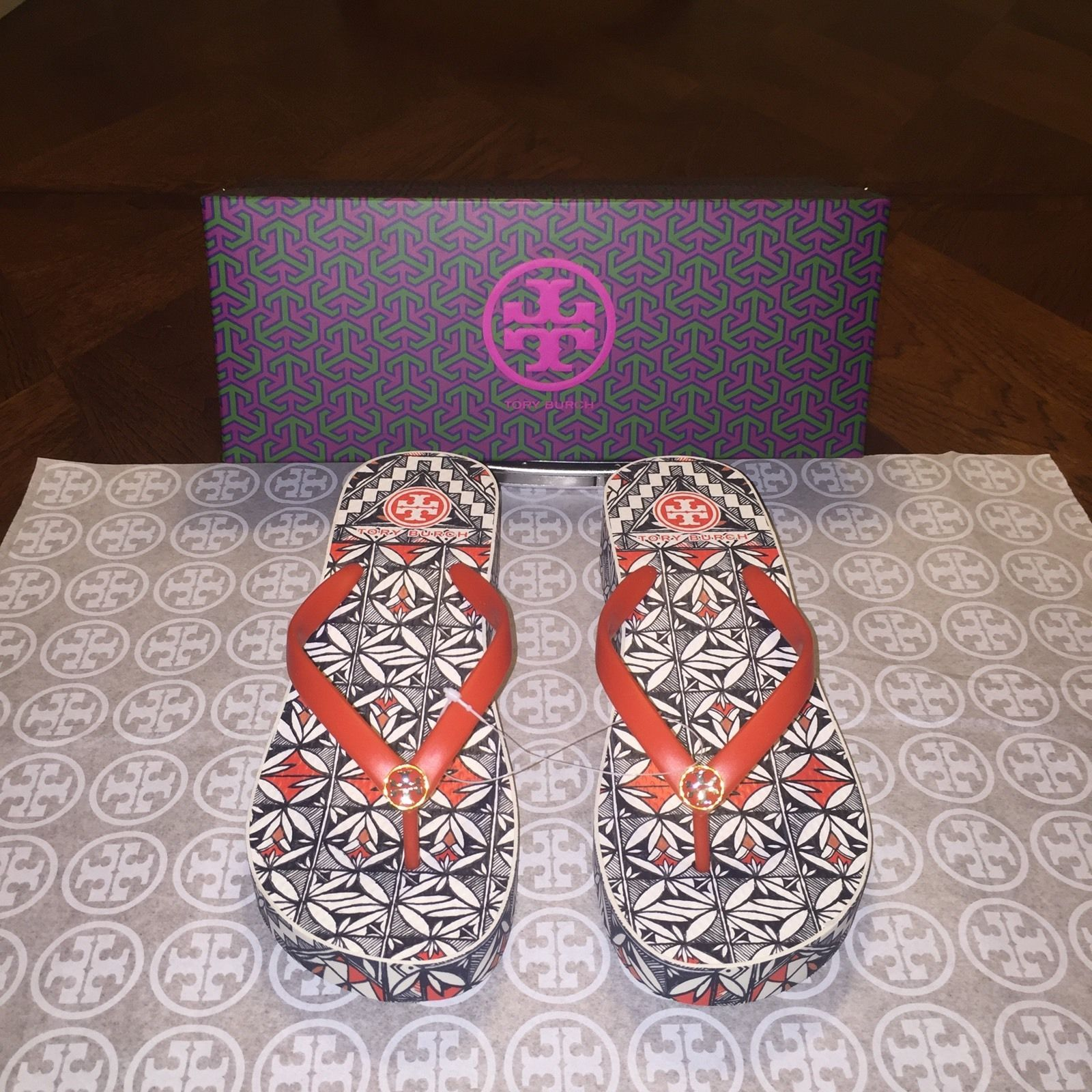 6d406a3c7984 NIB Tory Burch Thandie Wedge Flip-flops in and 50 similar items. S l1600