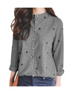 Autumn Ladies Leaves Embroidery Blouses Long Sleeve Chic Striped Shirt W... - $36.40