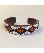 Leather Beaded Cuff Bracelet Vintage Native Southwest Style White Red Brown - $32.00