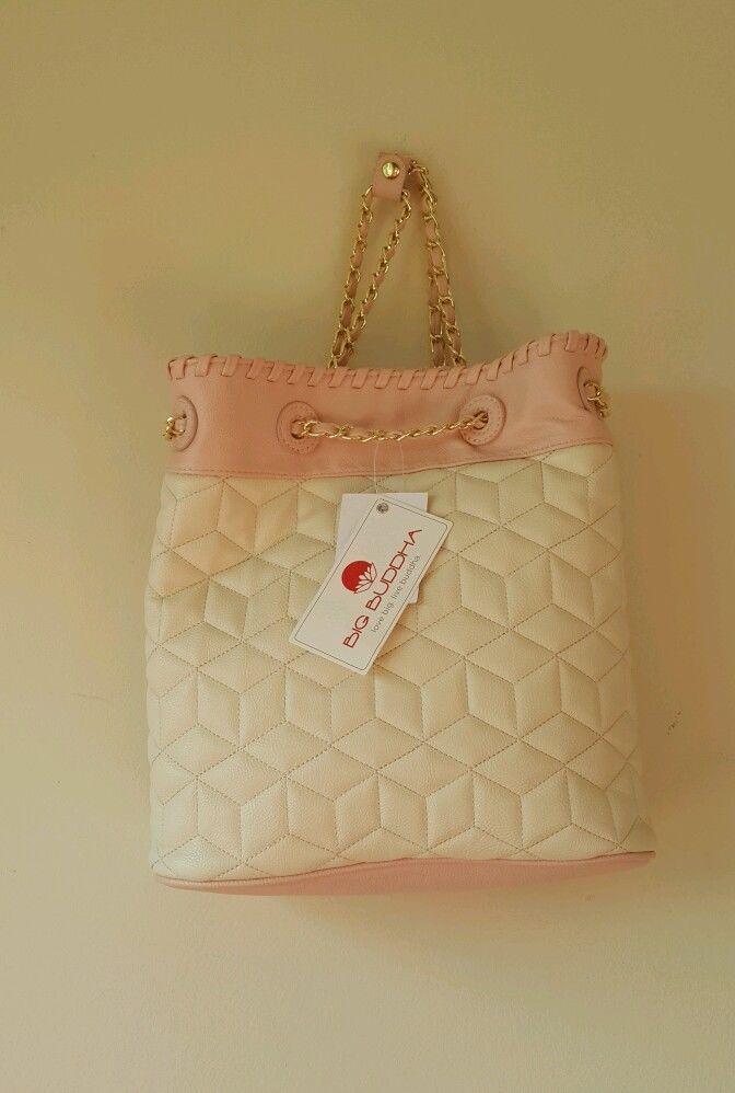 NWT Big Buddha woman's purse handbag backpack style. Gold chain cream pink blush image 4