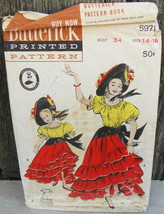 Butterick 5971 Chiquita Banana Costume Festive Mexican Dress and Hat Pat... - $18.00