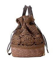 Fashion Vacation Item/Crochet Flower Straw Backpack/ Beach Bag/Dark Brown