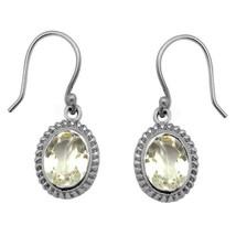 925 Sterling Silver 8*6 mm Oval Cut Lemon Quartz Gemstone Hook Earring - $21.68