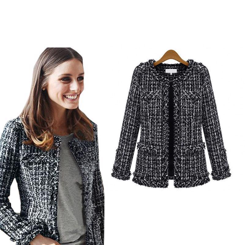 Primary image for Women Autumn Winter Coat Checkered Tweed Jacket Fashion Casual Plaid Outerwear