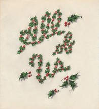 Vintage Christmas Card All of Us Holly Lettering Made By Butler Thomas 1... - $7.91