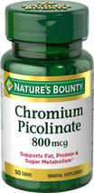 Nature's Bounty Mega Chromium Picolinate 800 mcg tablets 50 ea - $9.89