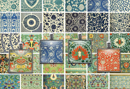 Printable Vintage Chinese Ornament Patterns Digital Collage Sheet  1x1 i... - $2.50