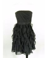 White House Black Market Size 00 Black Chiffon Ruffles Cocktail Dress MINT! - $24.99